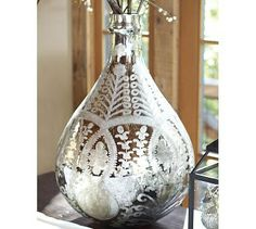 Etched Mercury Glass Vase #potterybarn - 80 to 90 % off , pls order to us now.