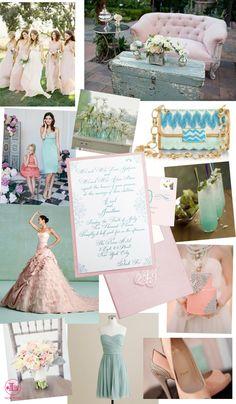Aqua and Blush Pink
