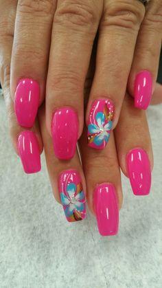 nail nailart nailidea nailinspiration naildesign is part of nails - nails Tropical Nail Designs, Colorful Nail Designs, Nail Designs Spring, Nail Art Designs, Beachy Nail Designs, Tropical Nail Art, Butterfly Nail Art, Flower Nail Art, Spring Nails