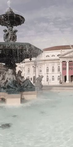 Rossio Square in Lisbon, Portugal Us Travel, Travel Tips, Art Deco Buildings, Meeting Place, National Theatre, Lisbon Portugal, Fountain, Travel Photography, Traveling