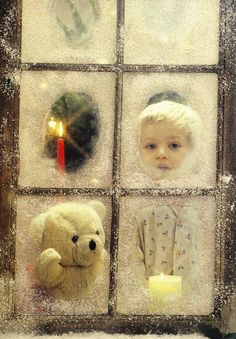 Decorate old window to use as a prop for your Christmas card picture!                                                                                                                                                                                 More