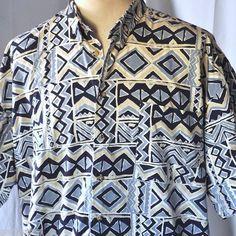 "Tiki Tapa Pattern 2XL Button Down Hawaiian Shirt by Generra Reserve 56"" x 33"""