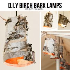 Birch bark lamps