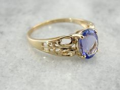 Shimmering Lilac Purple Tanzanite Ring in Engraved by MSJewelers