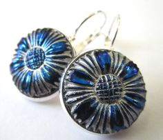 Vintage glass button earrings, blue & silver floral,by SewSandyShop, $24.00