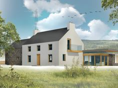The attractive proportions of this ft Irish farm house with its traditional stone and brick arched barn are highlighted further by the modern highly glazed Modern Farmhouse Exterior, Modern Farmhouse Style, Farmhouse Design, Farmhouse Contemporary, Farmhouse Renovation, Style At Home, Rural House, Farm House, House Designs Ireland