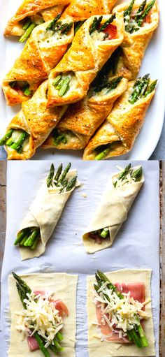 Asparagus Puff Pastry Bundles These Prosciutto Asparagus. Asparagus Puff Pastry Bundles These Prosciutto Asparagus Puff Pastry Bundles are an easy and elegant appetizer or brunch idea! Perfect for Easter, Mother's Day or any other spring brunch! Vegetable Dishes, Vegetable Recipes, Chicken Recipes, Crockpot Recipes, Ham Recipes, Salmon Recipes, Potato Recipes, Easy Food Recipes, Crowd Recipes