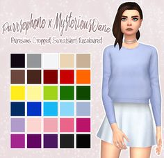 Puresims Cropped Sweatshirt RecolouredI absolutely adore this sweater by Puresims but since I only use maxis match clothes, I figured I'd recolour that one MM swatch to add more colour options! This...