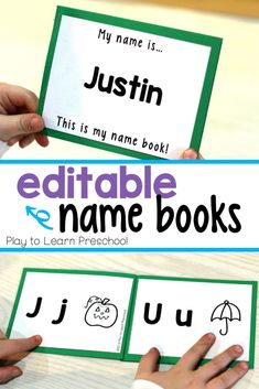 These editable name books are great for preschoolers. Each day they can read their books, identify the letters of their names, and start to make the letter-sound connection. #namepractice #learntheirname #preschool