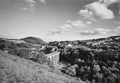 """'Bargoed Viaduct and Relandscaped Waste Heaps, 1985' © John Davies. John's artwork will be exhibiting in """"The Valleys Re-Presented (1 May - 31 May 2013)  at the Tramshed in Cardiff as part of Diffusion 2013."""
