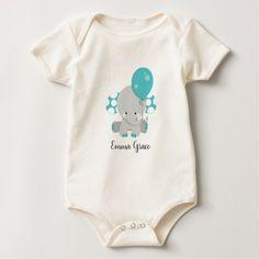 Wood & Teal Elephant Gender Neutral Baby Monogram Baby Bodysuit - monogram gifts unique custom diy personalize