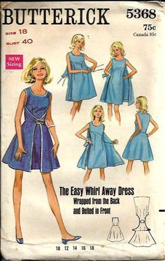 VTG Butterick 5368 Easy Misses Whirl Away Wrap Dress Pattern, Size 16, UNCUT/FF
