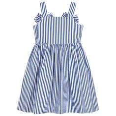 Il Gufo - Girls Blue Striped Cotton Dress | Childrensalon