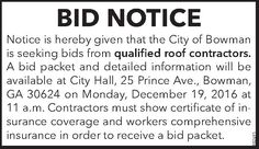 Notice is hereby given that the City of Bowman is seeking bids from qualified roof contrac... | City of Bowman - Bowman, GA #georgia #ElbertonGA #shoplocal #localGA