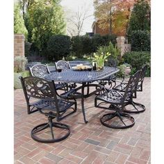 Home Styles 5554-335 Biscayne 7-Piece Outdoor Dining Set, Black Finish by Home Styles. $1764.98. Table measures 42-inch width by 72-inch depth by 28-1/2-inch height. Biscayne 7-piece outdoor dining set. Set includes oval table and six swivel arm chairs. Comes in a black finish. Made of cast aluminum. This biscayne 7-piece outdoor dining set includes oval table and six swivel arm chairs. The biscayne dining set is a cost-effective alternative to cast iron, this cast aluminum outdo...