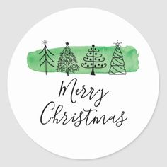 Shop Watercolor Doodle Holiday Classic Round Sticker created by Charmworthy. Christmas Tree Sketch, Christmas Cards Drawing, Watercolor Christmas Tree, Christmas Doodles, Diy Christmas Cards, Christmas Stickers, Christmas Printables, Xmas Cards, Holiday Cards
