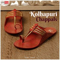 Buy comfortable, stylish with #beautiful Checkered pattern #Kolhapuri Genuine Leather Chappal at lowest prices from #CubiShop #Footwear