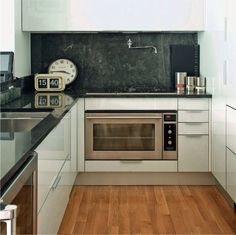How do you make a 500 sq ft kitchen look luxuriously functional? This is a good start.