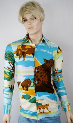 Vintage 1970's Men's PsYcHeDeLiC African Animal Cheetah HiPsTeR HiPPiE NoveLTy DiScO SHiRT Size S