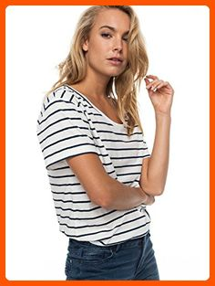 Roxy Women's Just Simple Short Sleeve Stipe Tee,marshmallow lexi stripe ERJZT04056,M - All about women (*Amazon Partner-Link)