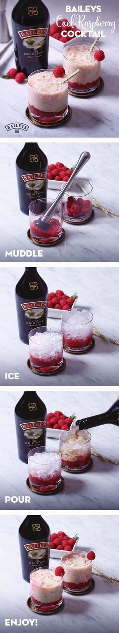 Baileys cool raspberry Three-day weekend coming up? Sweeten up your day off with this simple and easy Cool Raspberry cocktail recipe. Made with crushed ice, raspberries and Baileys, it's the perfect cold, refreshing tasting (Cool Summer Ideas) Fancy Drinks, Easy Cocktails, Cocktail Drinks, Alcoholic Drinks, Drinks Alcohol, Beverages, Baileys Drinks, Winter Cocktails, Baileys Recipes