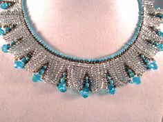 Silver and turquoise herringbone beaded necklace