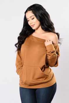 - Available in Olive and Black - Off the Shoulder - Front Pocket - Zipper Pocket on Sleeve - 60% Polyester, 35% Cotton, 5% Spandex