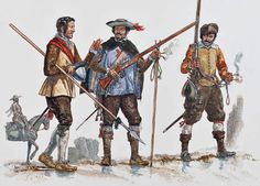 """The Spanish Tercios, 1630s-1650s"" • Cabo, Battle of Valenciennes, 1658 • Musketeer, siege of Ayre, 1641 • Arquebusier"