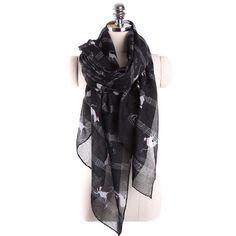 Fashion Elegant Women Ladies Musical Note Cat Print Pattern Long Scarf Women Winter Warm Wrap Shawl