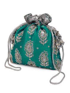 Green Silver Floral Zari Potli Bag Satin Glass Beads