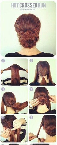 Braided hot crossed bun tutorial