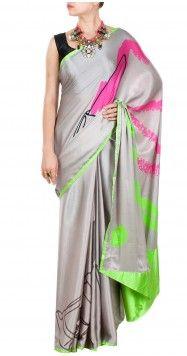 SATYA PAUL Lipstick print sari with green border