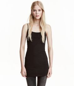 Check this out! Long, fitted camisole top in jersey with narrow, adjustable shoulder straps. - Visit hm.com to see more.
