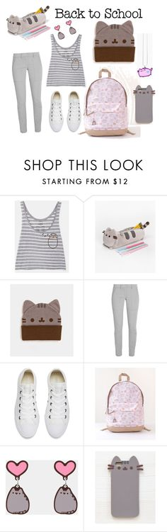 """#PVxPusheen"" by missglamamour ❤ liked on Polyvore featuring Pusheen, DKNY, Converse, contestentry and PVxPusheen"