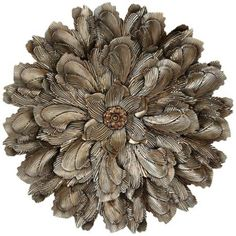 "Curled Petals 30"" Round Metal Flower Wall Decor"