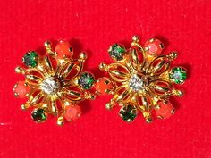 Indian Bollywood floral design  vintage Gold plated multicolourCZ earrings AGOS6 #lakimanu #Stud