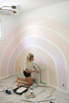 Home Interior Black Rainbow Corner Accent Wall DIY - A Beautiful Mess.Home Interior Black Rainbow Corner Accent Wall DIY - A Beautiful Mess Beautiful Mess, Little Girl Rooms, Kid Spaces, My New Room, Kids Bedroom, Rainbow Girls Bedroom, Rainbow Room Kids, Girl Toddler Bedroom, Rainbow Diy