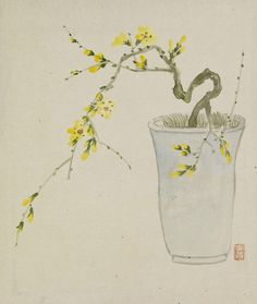 Yoshizawa Setsuan - Leaf from Album Depicting Birds, Flowers, Landscapes, and Flower Pots - 1876