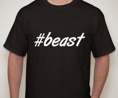 Mens Black Tshirt. beast. Hashtag tshirt for men. by ECVinylSupply