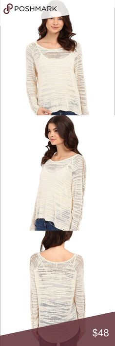 Ripcurl Sundrop Sweater in Vanilla - new with tags Perfect lightweight sweater for fall! Incredibly comfortable. Can be worn with just a nude bra underneath and no tank top. Add a tank top and scarf for cooler weather! Rip Curl Sweaters Crew & Scoop Necks