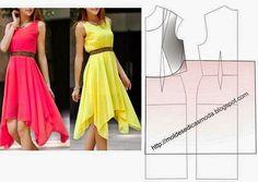 Fashion molds for Measure Fashion Sewing, Diy Fashion, Ideias Fashion, Diy Clothing, Sewing Clothes, Dress Sewing Patterns, Clothing Patterns, Diy Dress, Dress Skirt