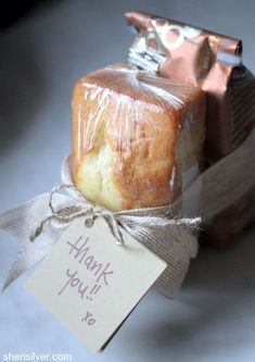 "favor-""ette"": bring breakfast (here it's a pound cake and coffee) as a unique and appreciated hostess gift!                                                                                                                                                                                 More"