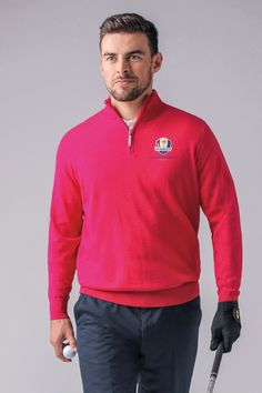 f32cf7b1 Official Ryder Cup 2018 Mens Merino Zip Neck Sweater Ryder Cup 2018, Golf  Sweaters,