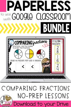 Compare Fractions | 3rd grade fractions | fraction math centers | 4th grade math | comparing fractions | equivalent fractions | google classroom | Practice comparing fractions with No Prep lessons to share with students using Google Classroom. ($)