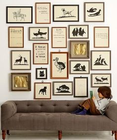 Illustrations and storybook pages gallery wall