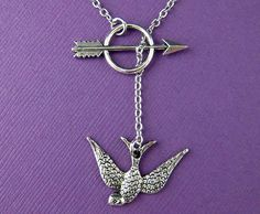 Hunger Games Inspired Necklace - Katniss Mockingjay and Arrow Lariat Chain Necklace in Silver (F516)