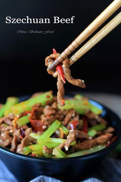 Szechuan Beef Stir Fry – China Sichuan Food.  This amazing dish takes only 30 minutes to have table-ready. A new way of looking at quick and easy recipes.  Like taking your family to a restaurant...only much easier on time and a lot less expensive.