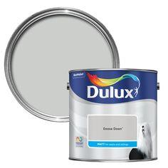 Dulux Summer linen Matt Emulsion Paint emulsion paint is suitable for and covers up to 13 m² per litre on average. Dulux White Mist, Dulux Grey Paint, Dulux Blue, Dulux Paint Colours, Wall Colors, Goose Down Dulux, Copper Blush, Colour Schemes, Colour Palettes