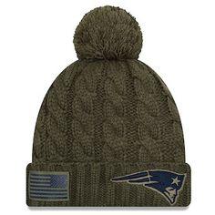 e394d43e540 New England Patriots New Era Women s 2018 Salute to Service Sideline Cuffed  Pom Knit Hat –