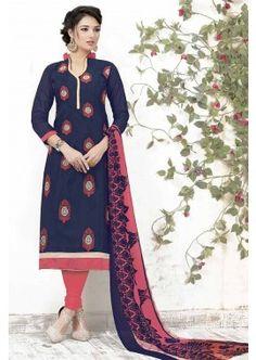Blue Chanderi Churidar Suit, -  £52.00,  #Churidarsuitsuk  #Onlinechuridaruk  #Churidaruk  #Bhagalpurisilkchuridar  #Silkchuridaronline  #Shopkund